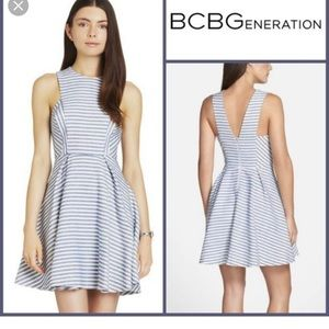 BCBGeneration blue and white striped dress